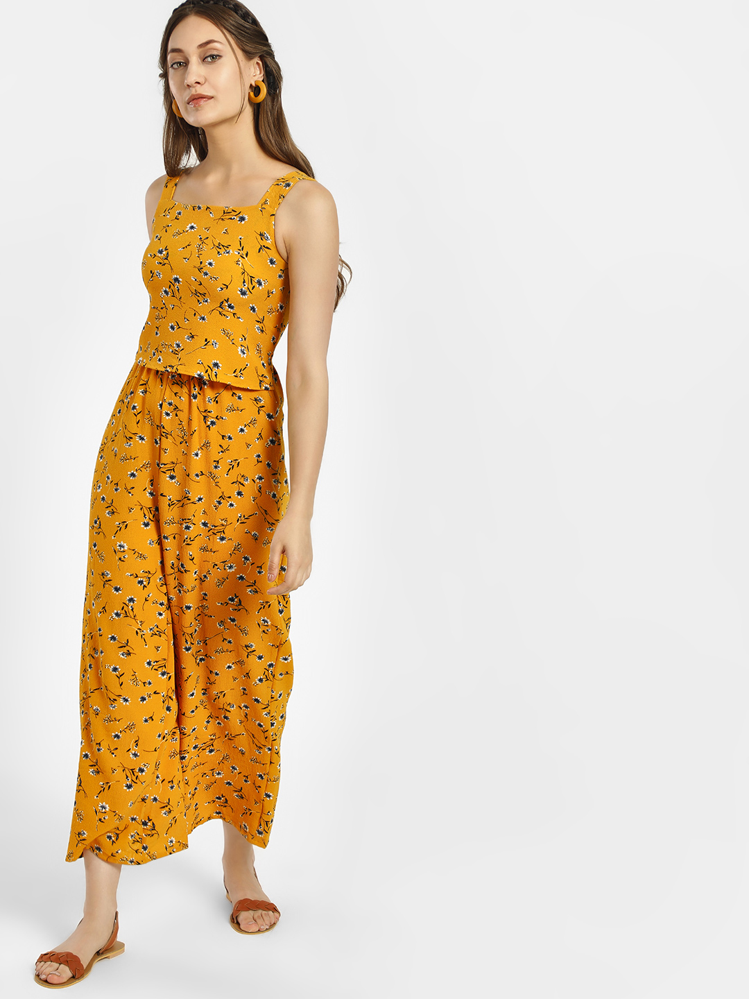 Only Yellow Floral Print Sleeveless Crop Jumpsuit 1