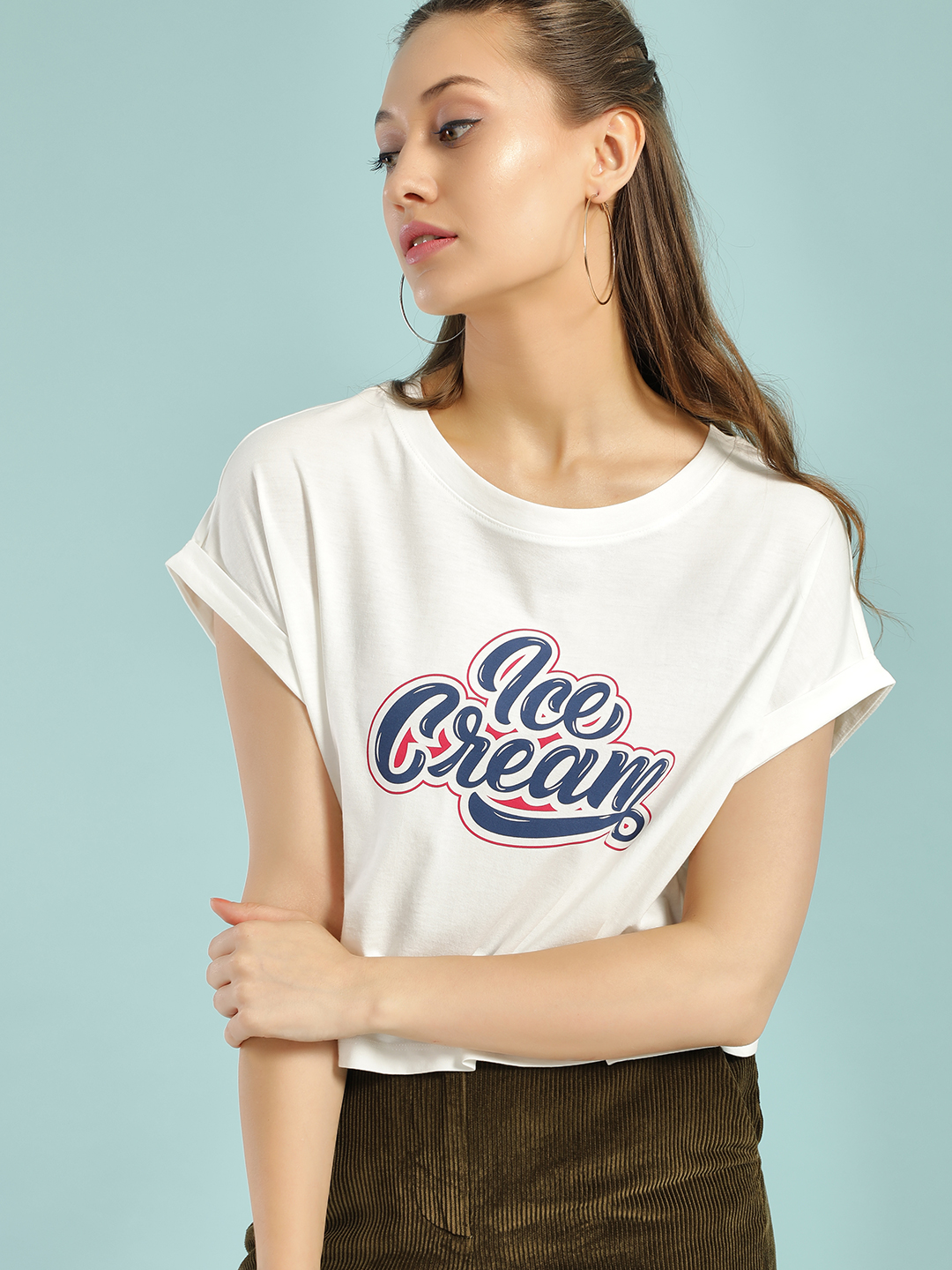 Only White Ice Cream Print Crop T-Shirt 1