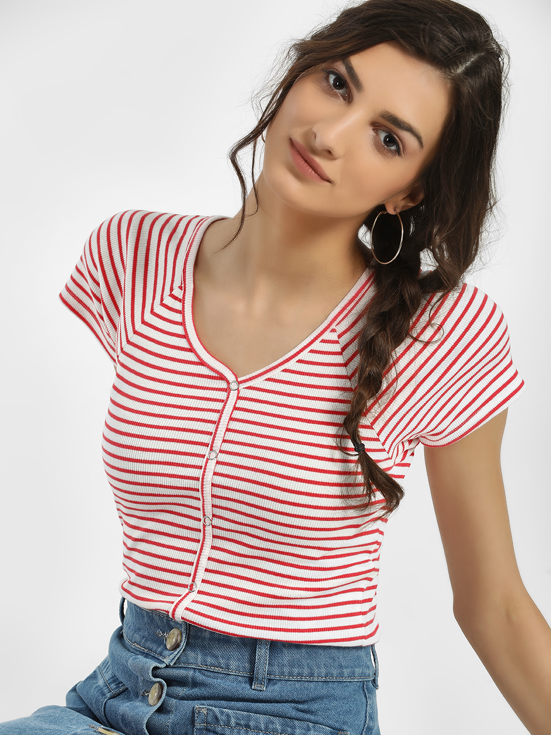 Only Pink Ribbed Stripe Crop T-Shirt 1