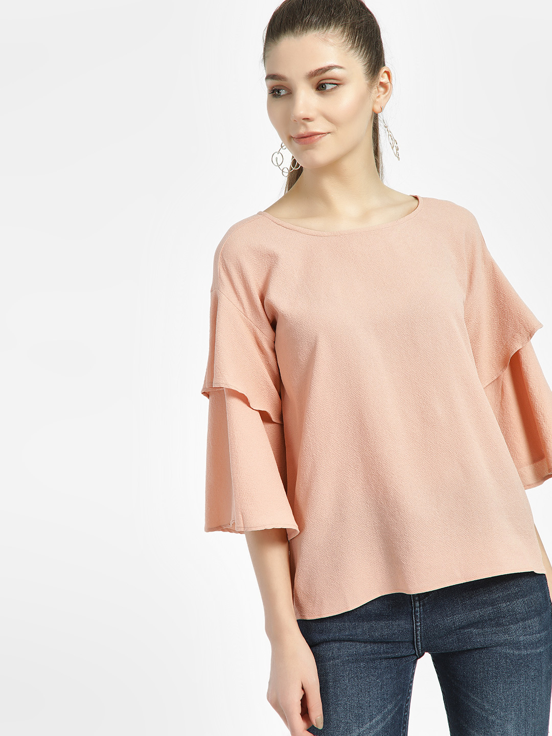 Lee Cooper Pink Tier Long Sleeve Blouse 1