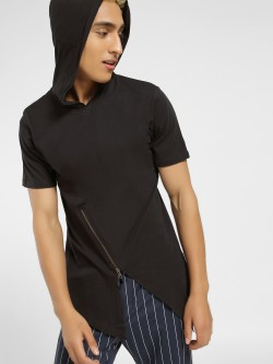 Kultprit Hooded Asymmetric T-Shirt