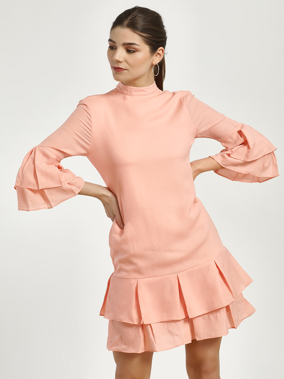 Magzayra Peach Double Layer Pleated Shift Dress 1