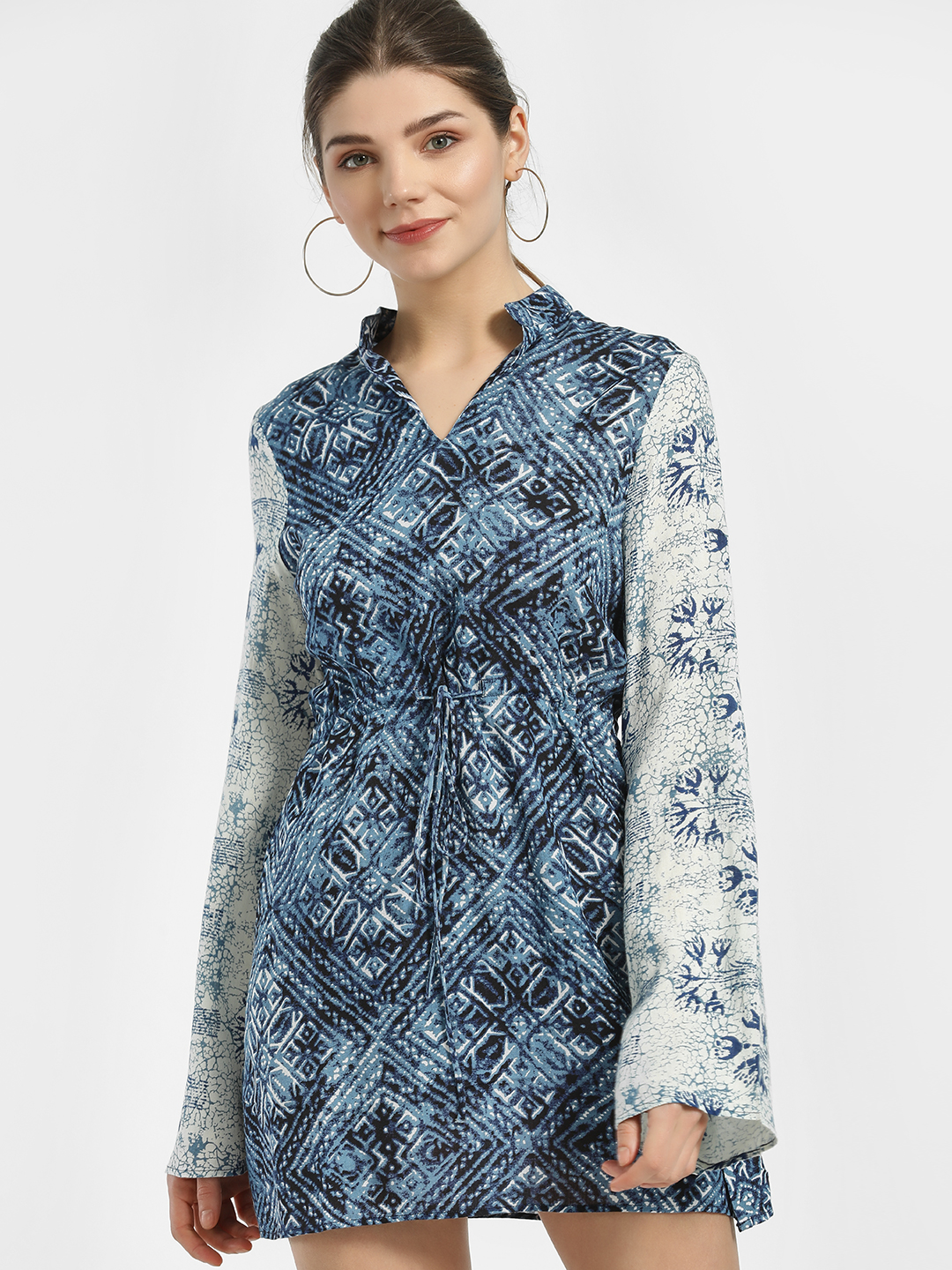 Magzayra Blue Bandhani Mixed-Print Shift Dress 1