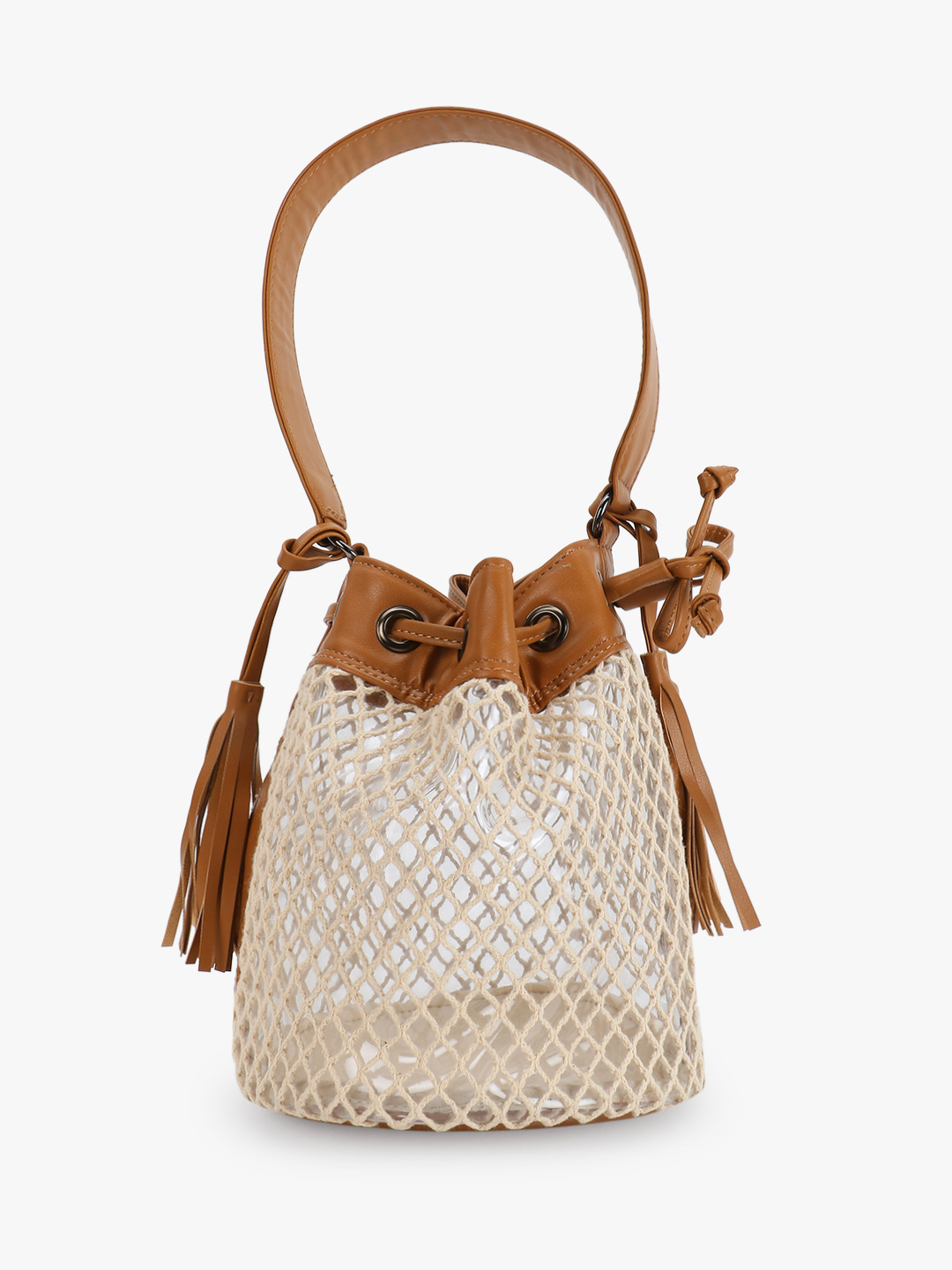Paris Belle Tan Crochet Detail Bucket Sling Bag 1