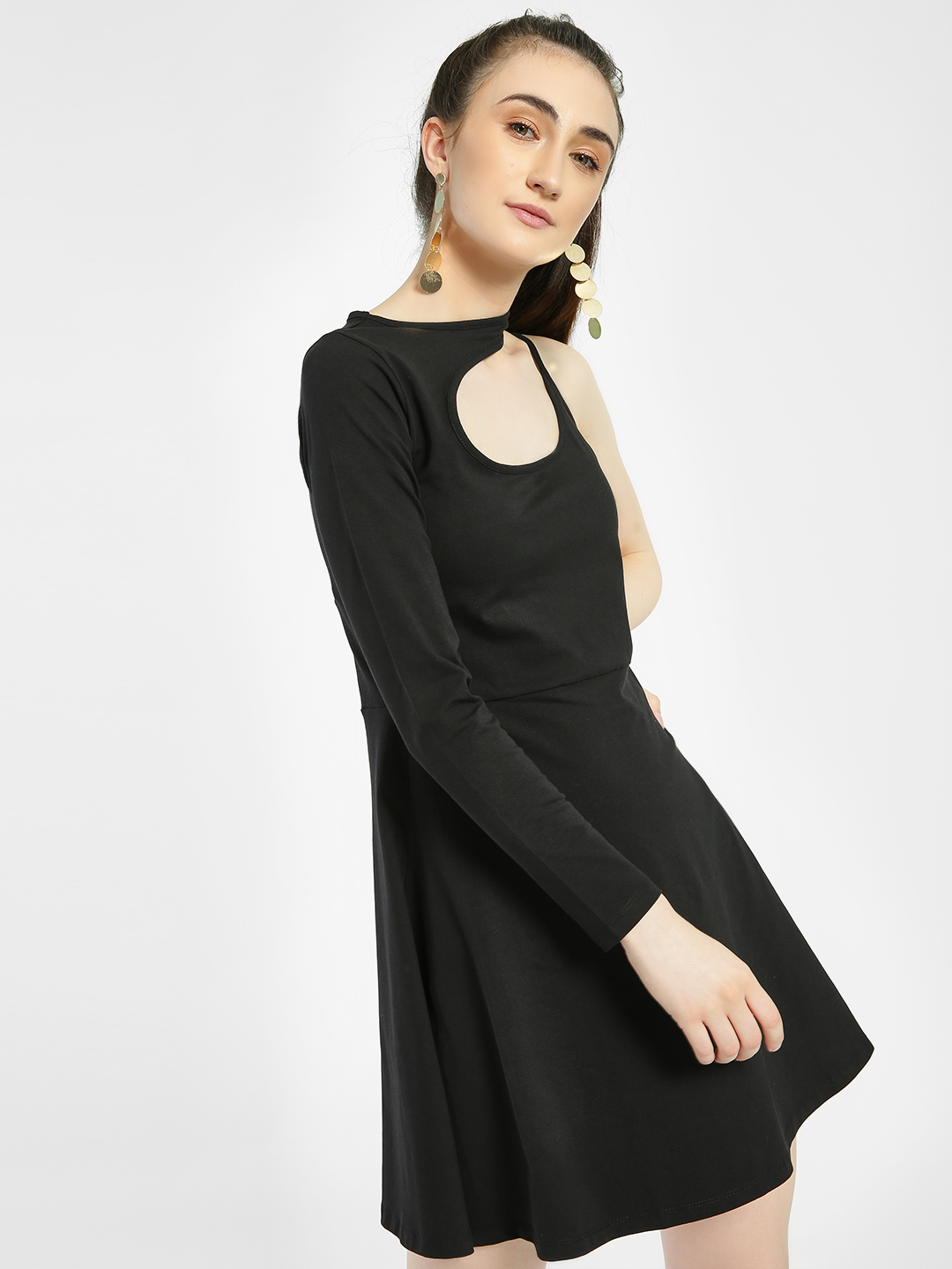 KOOVS Black Asymmetric Cut-Out Skater Dress 1