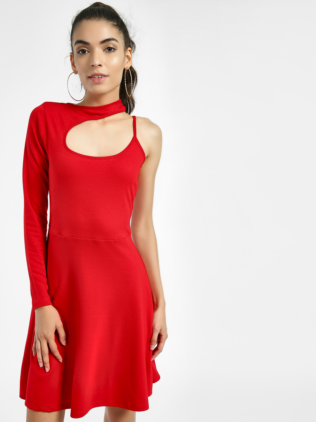 KOOVS Red Asymmetric Cut-Out Skater Dress 1