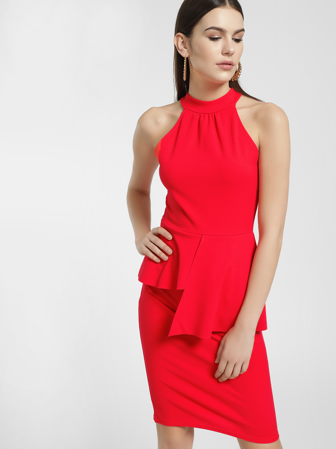 Quiz Orange Halter Asymmetric Peplum Bodycon Dress 1