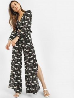 Glamorous Flamingo Print Split Palazzo Pants