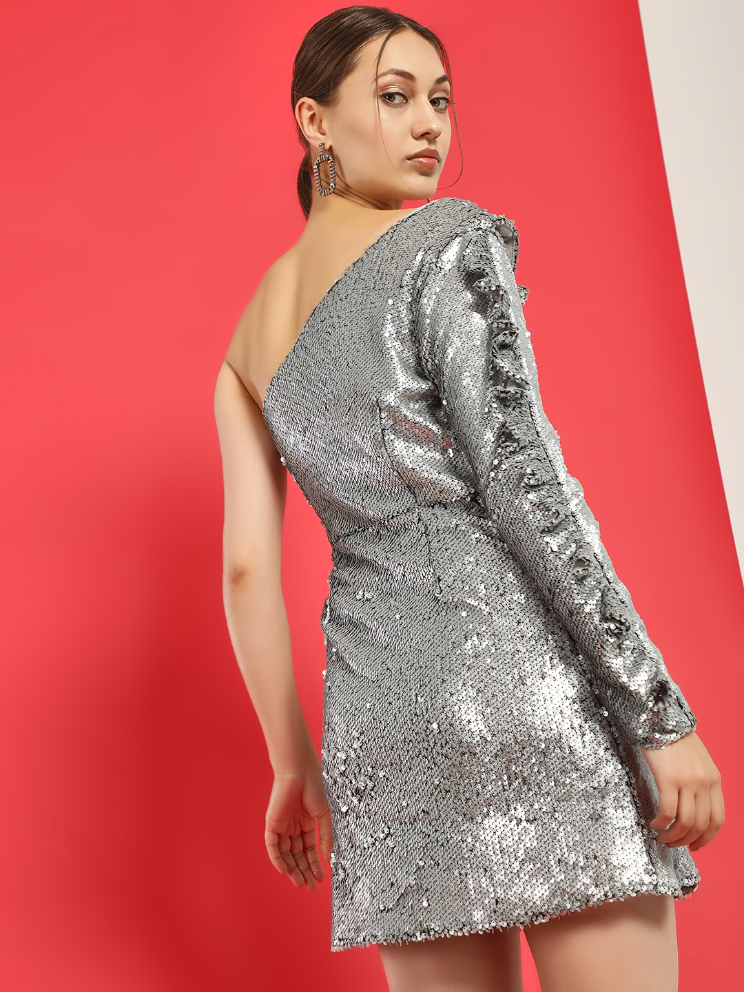 Glamorous Silver Glitter Sequinned One Shoulder Dress 1