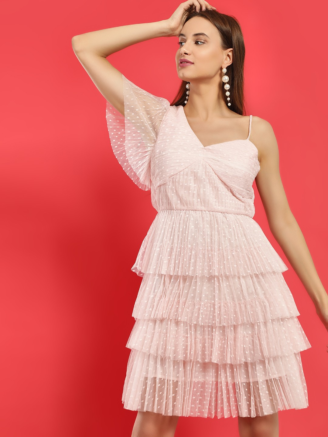 Glamorous Pink Dobby Tiered One Shoulder Dress 1
