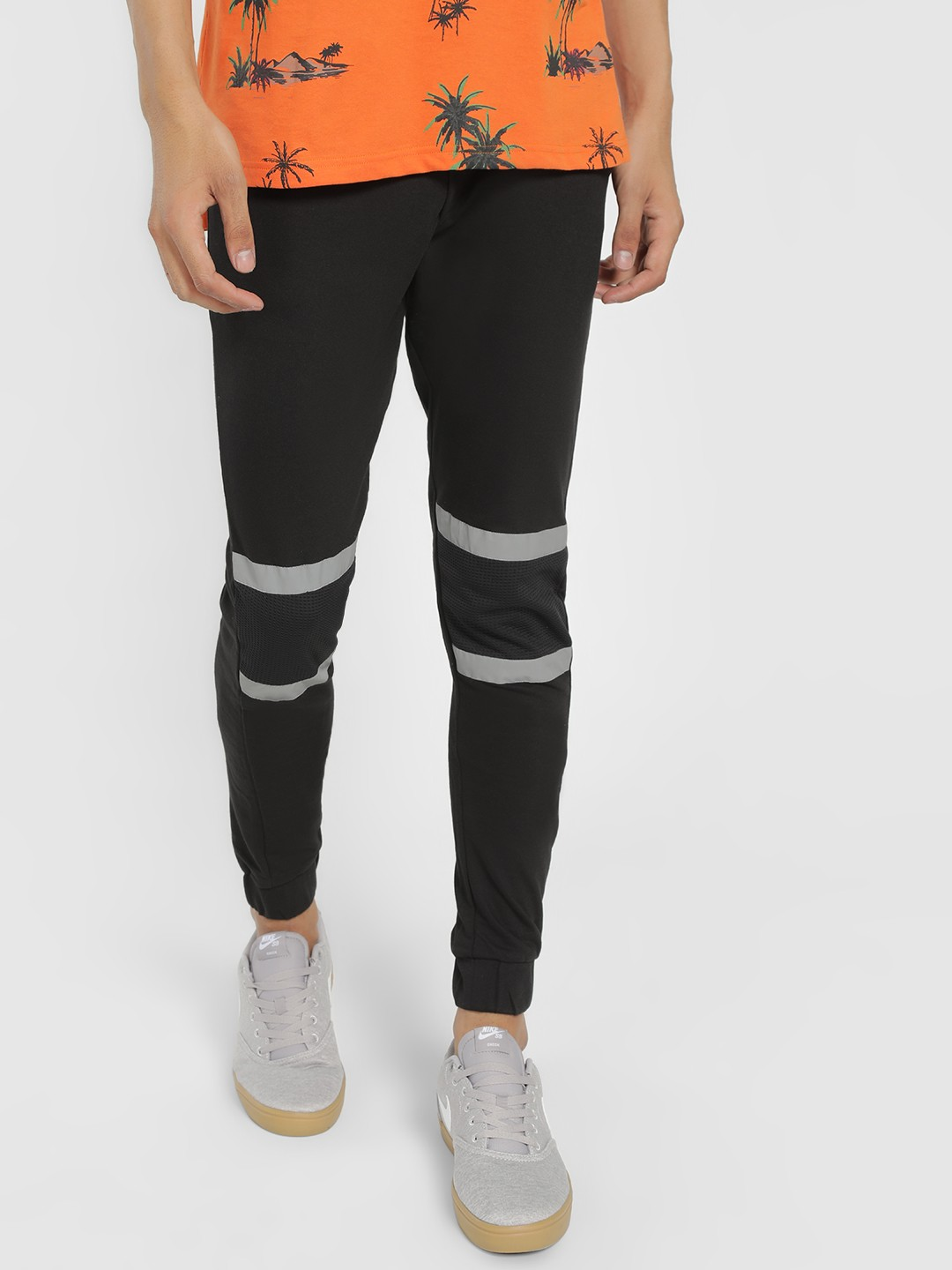 SKULT By Shahid Kapoor Black Reflective Mesh Panel Knitted Joggers 1