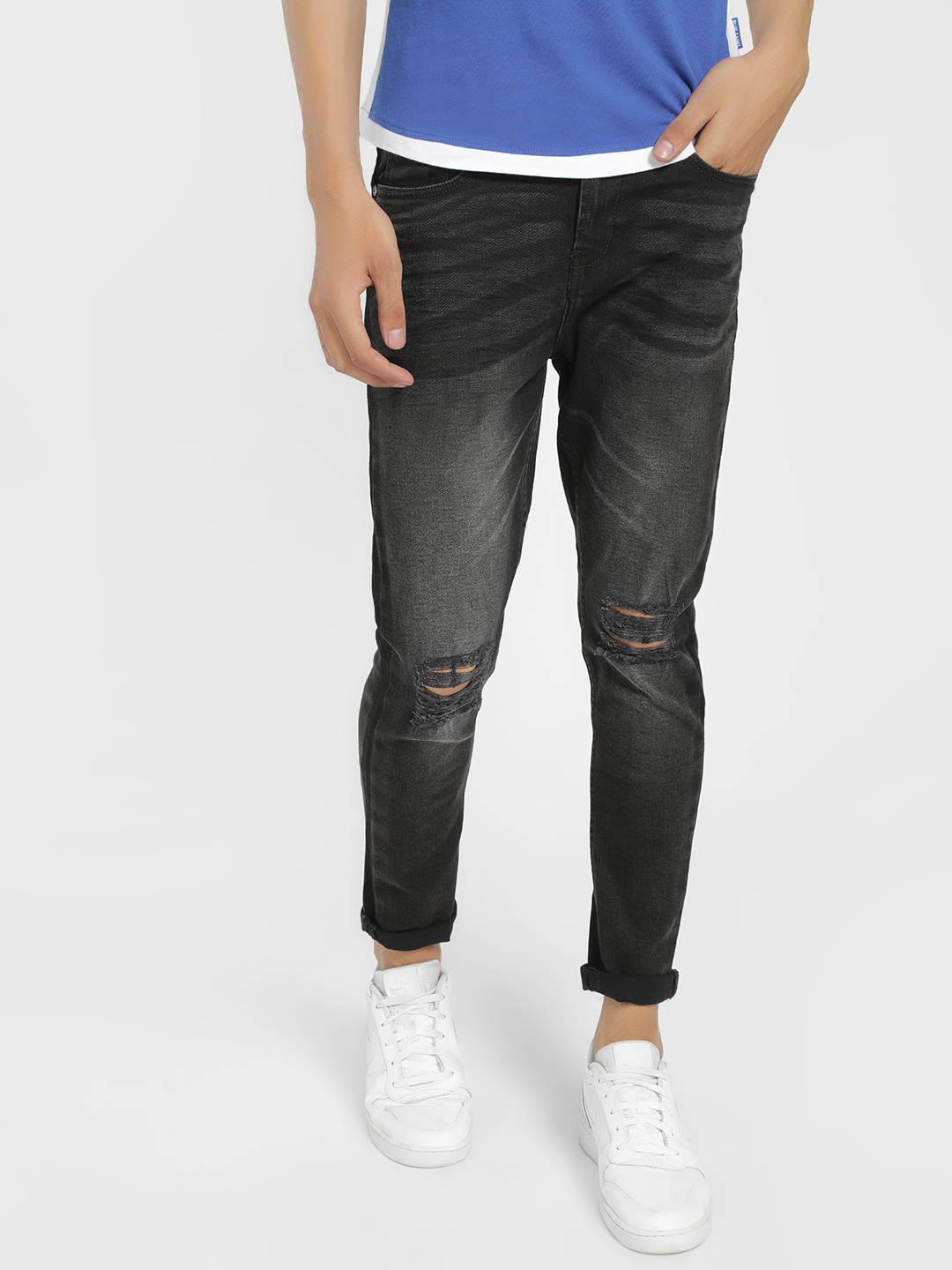 SKULT By Shahid Kapoor Grey Distressed Mid Wash Slim Jeans 1