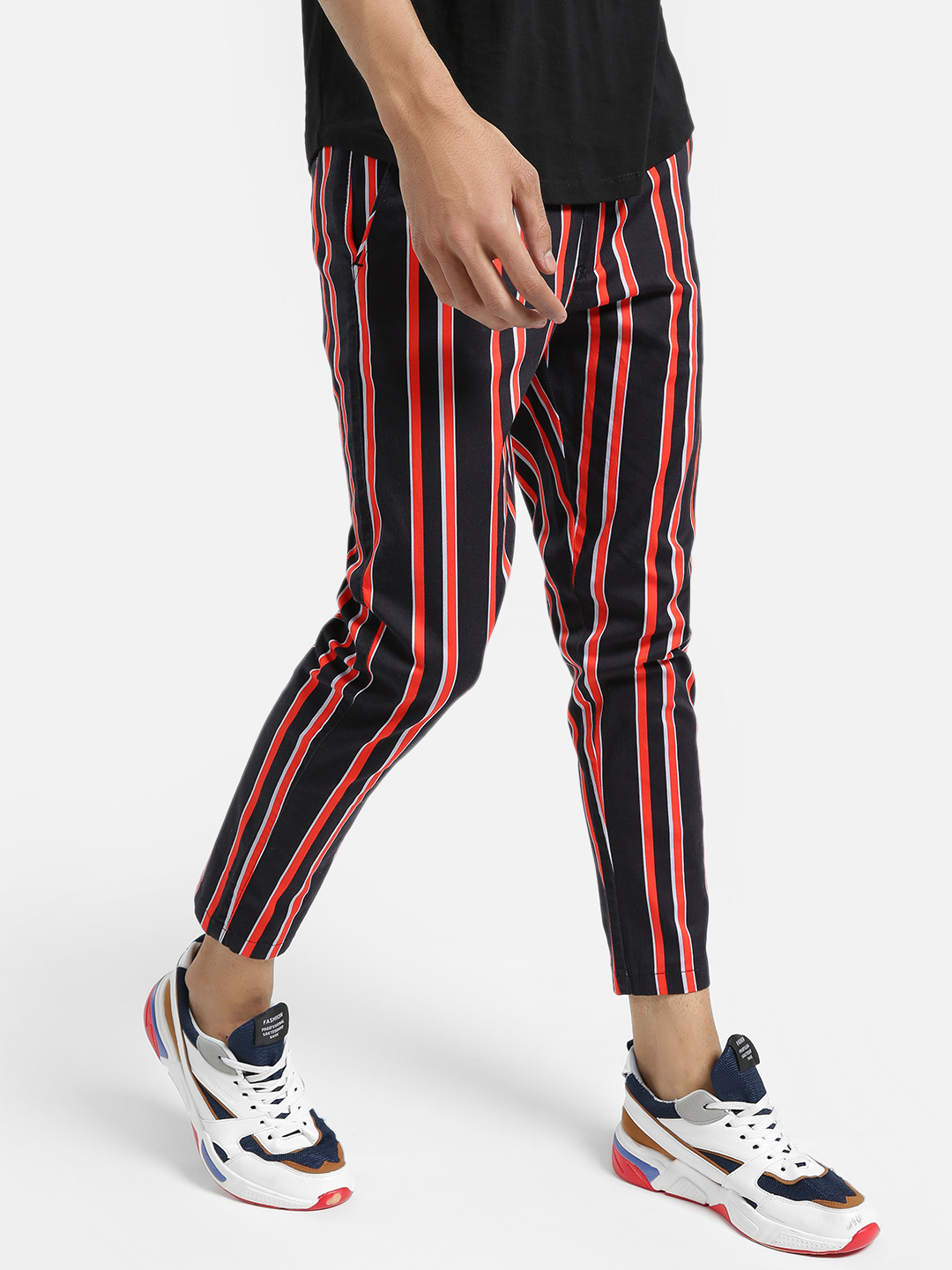 KOOVS Multi Vertical Stripe Cropped Straight Trousers 1