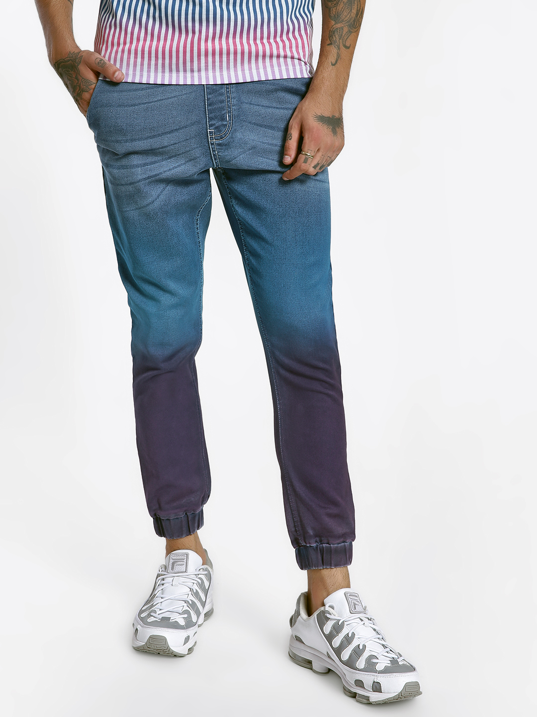 K Denim Dark Blue KOOVS Tie & Dye Denim Joggers 1