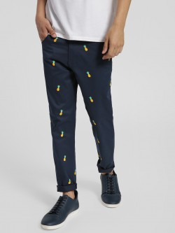 KOOVS Pineapple Print Slim Trousers