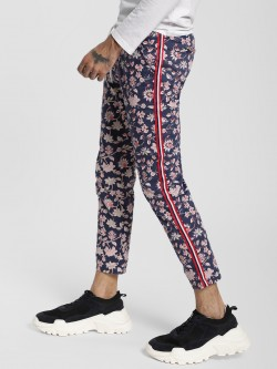 KOOVS Floral Print Side Tape Trousers