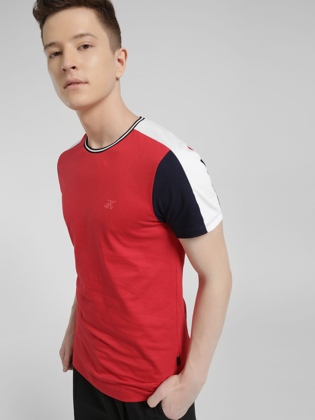 KOOVS Red Colour Block Muscle Fit T-Shirt 1