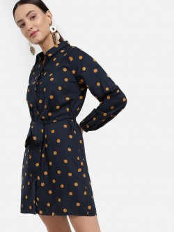 Femella Polka Dot Print Shirt Dress