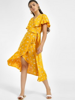 Femella Floral Print Cape Midi Dress