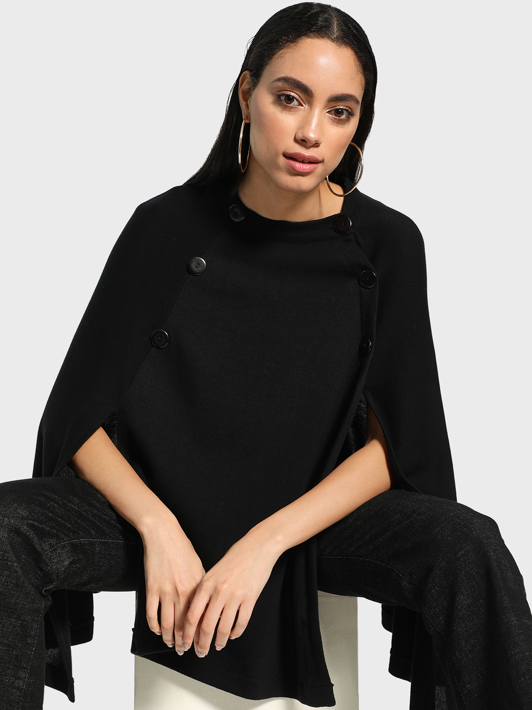 Akiva Black Split Hem Button Detail Poncho 1