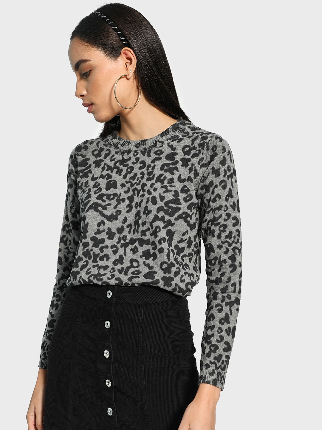 Akiva Grey All Over Leopard Print Pullover 1