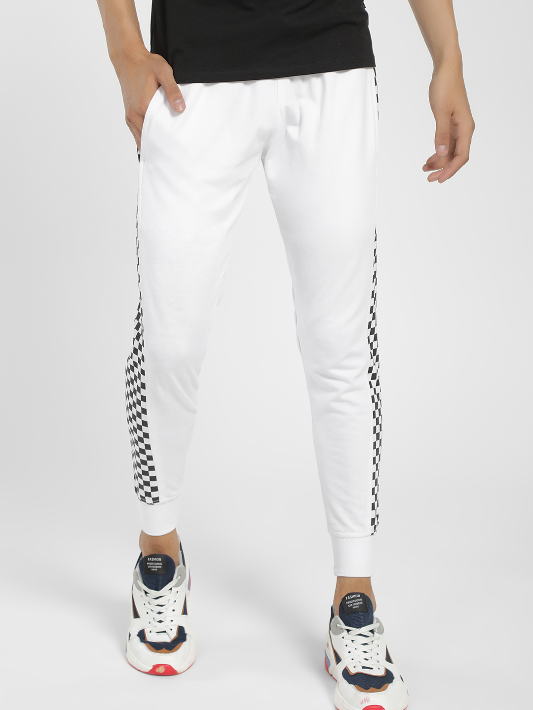 Tiktauli White Checkerboard Side Tape Skinny Joggers 1