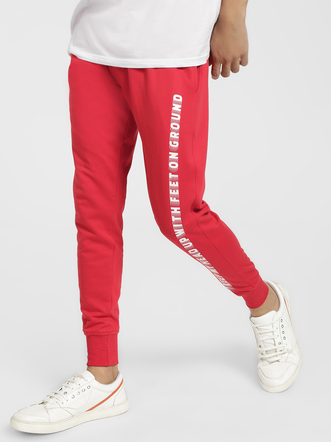 Tiktauli Red Side Slogan Print Joggers 1