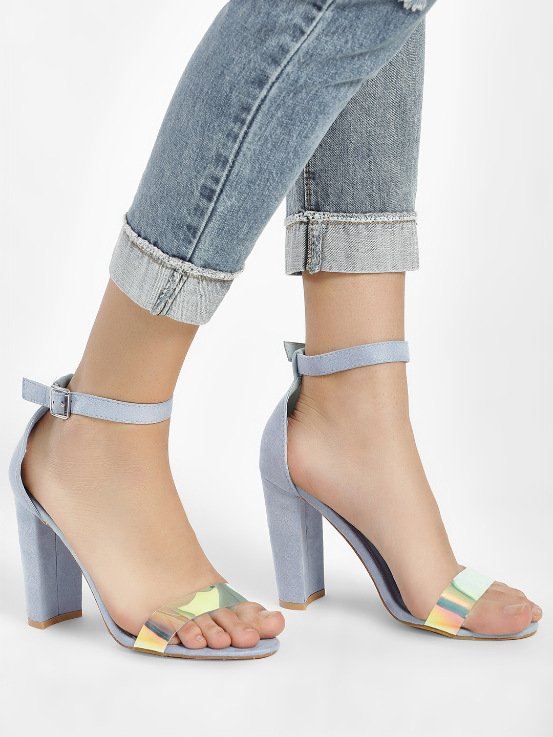 Glamorous Blue Holographic Strap Heeled Sandals 1