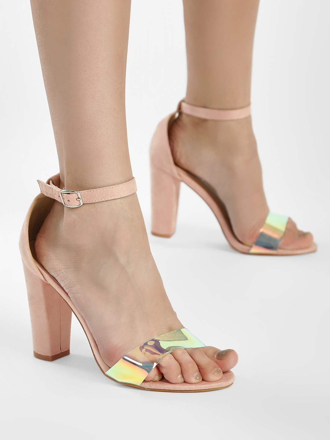 Glamorous Pink Holographic Strap Suede Heeled Sandals 1