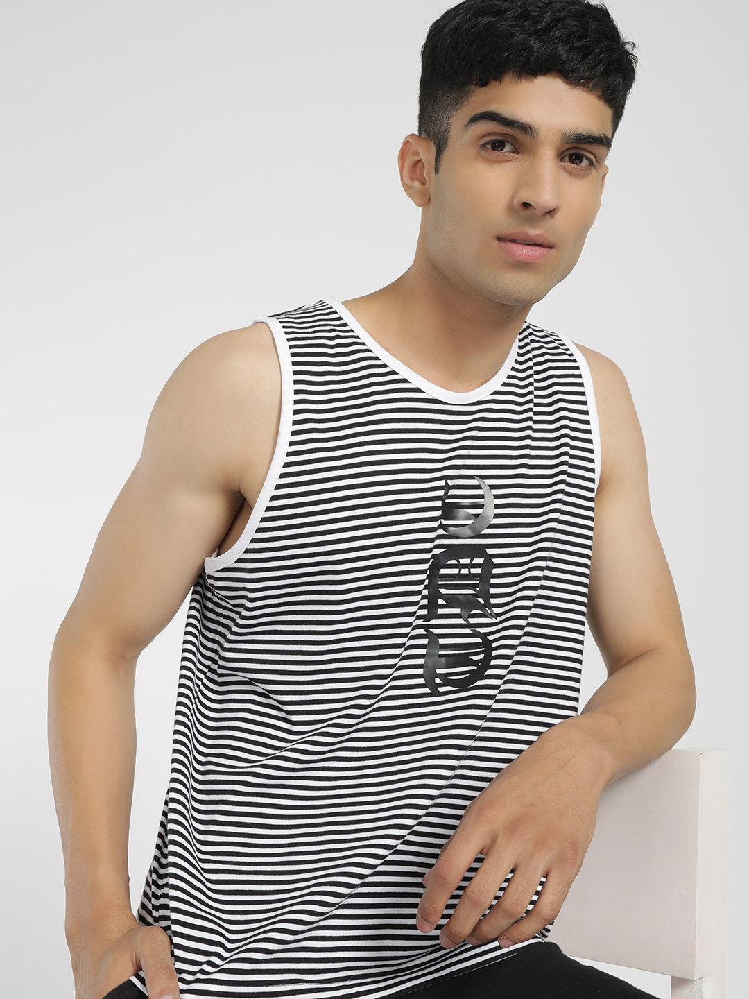 Tiktauli Multi Stripe Text Placement Print Vest 1