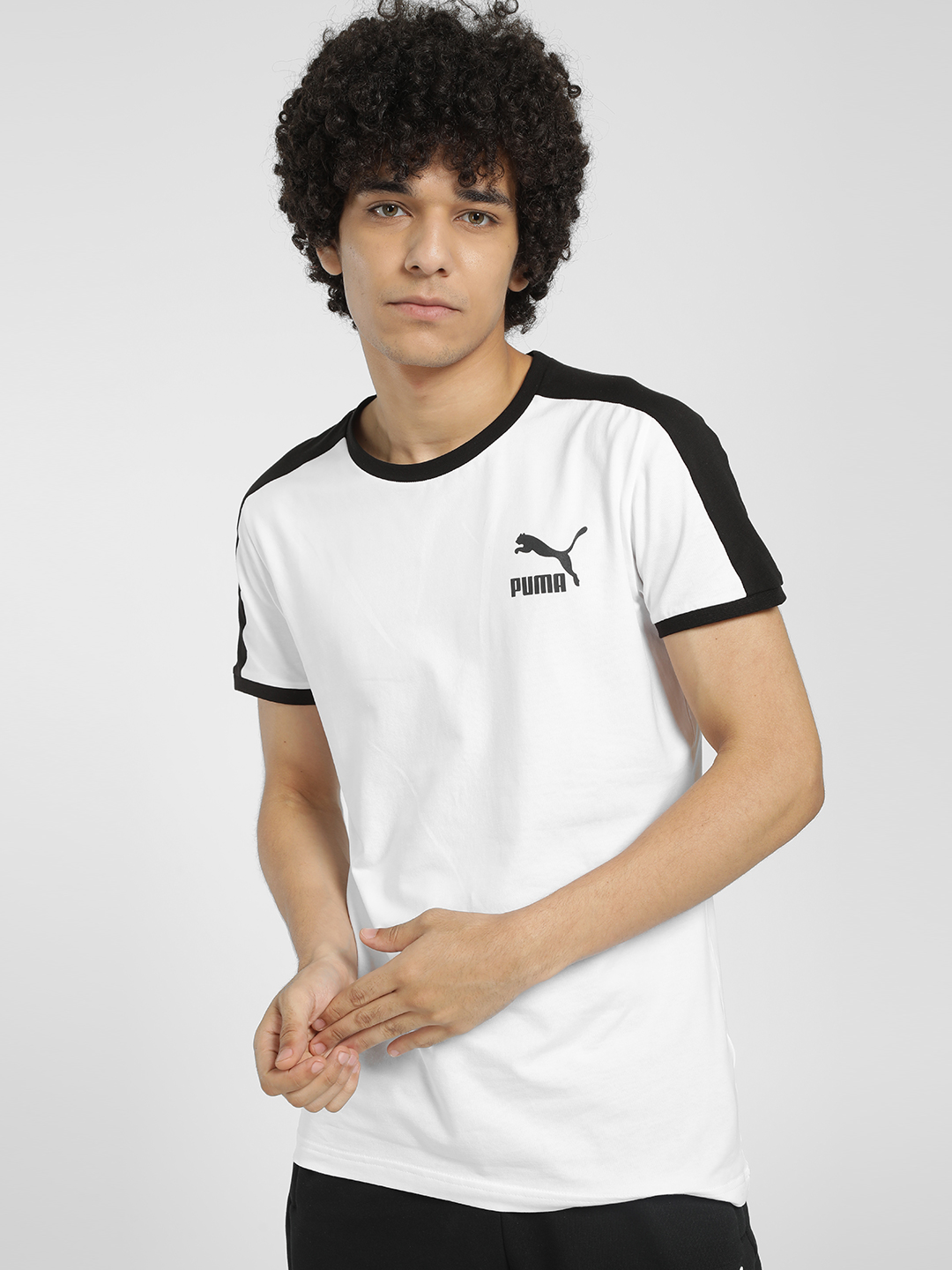Puma White Contrast Shoulder Stripe T-Shirt 1