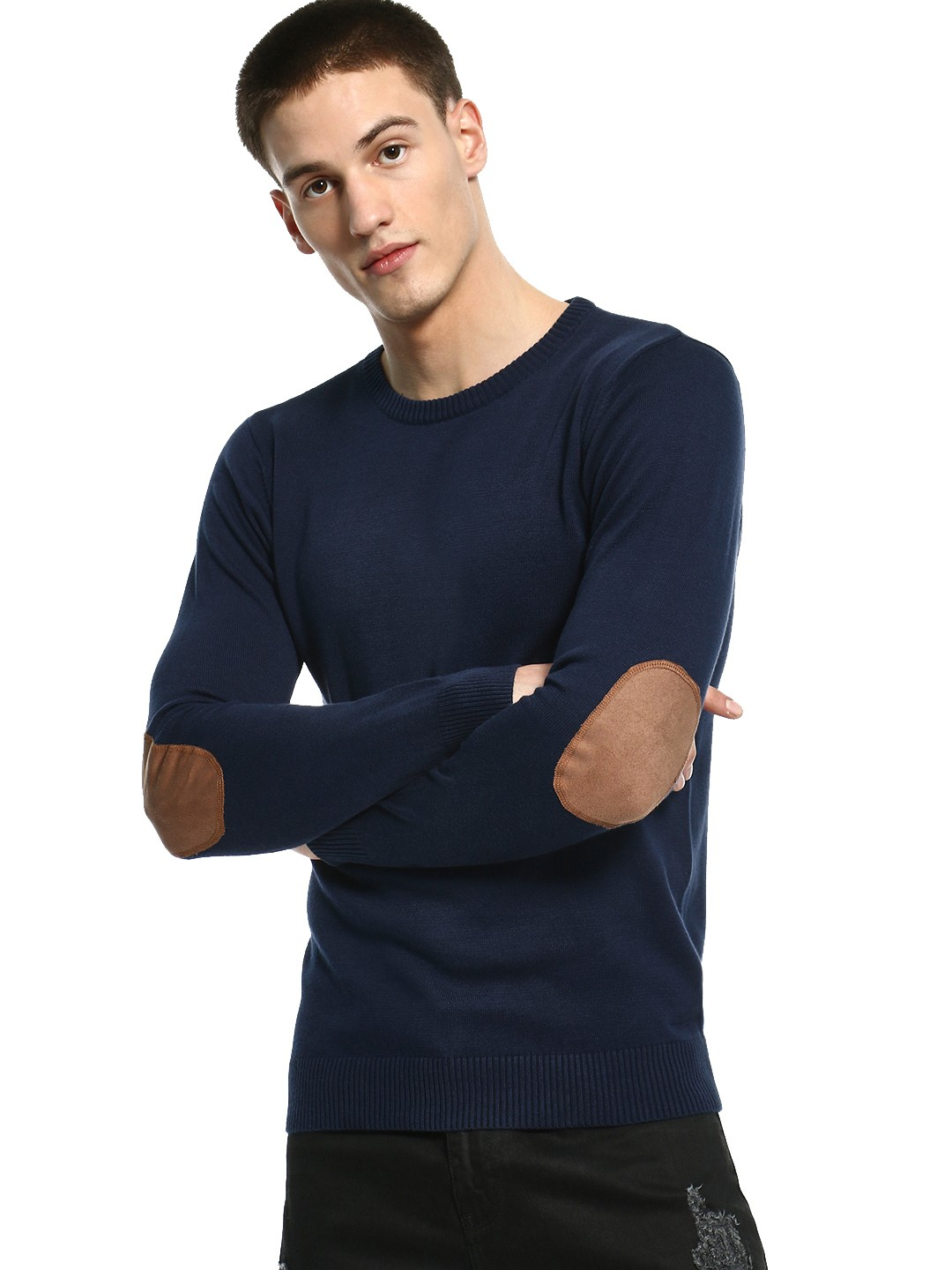 Akiva Blue Suede Elbow Patch Pullover 1