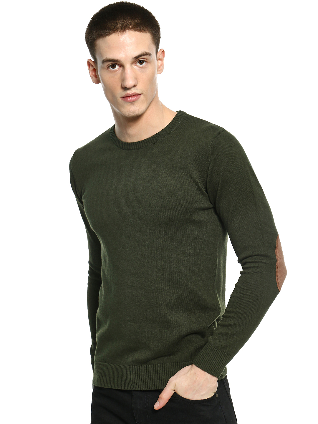 Akiva Green Suede Elbow Patch Pullover 1