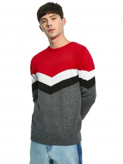 Akiva Chevron Colour Block Pullover