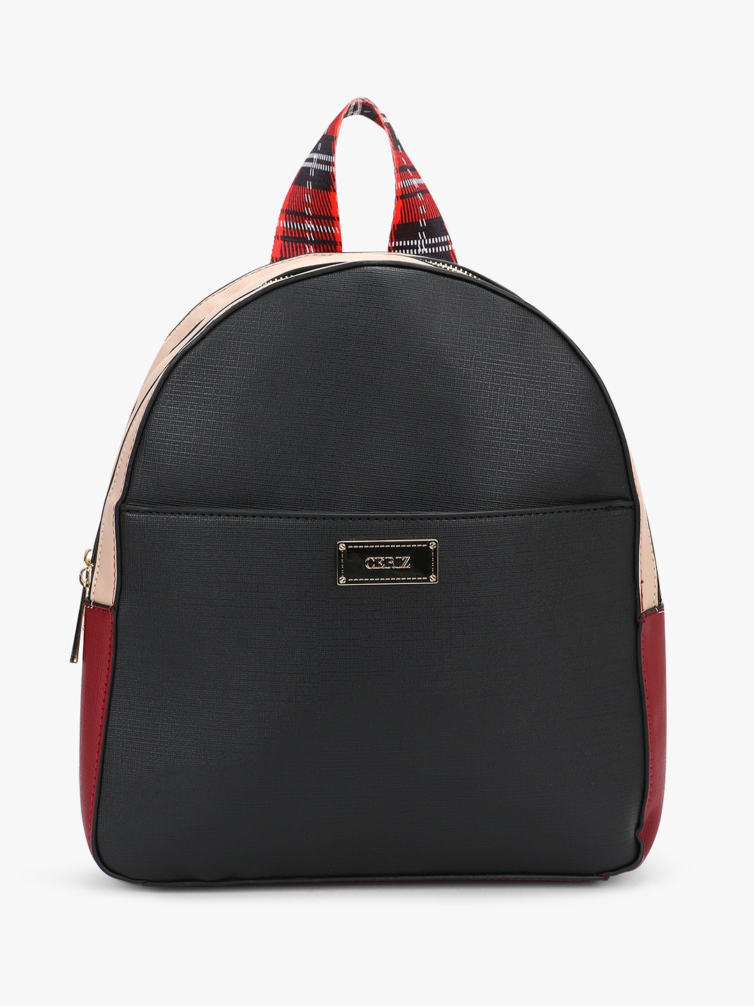 Ceriz Black Colour Block Structured Backpack 1