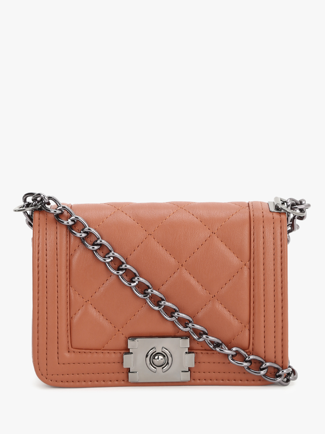 People Brown Quilted Chain Sling Bag 1