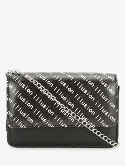 People Illusion Print Overlap Sling Bag