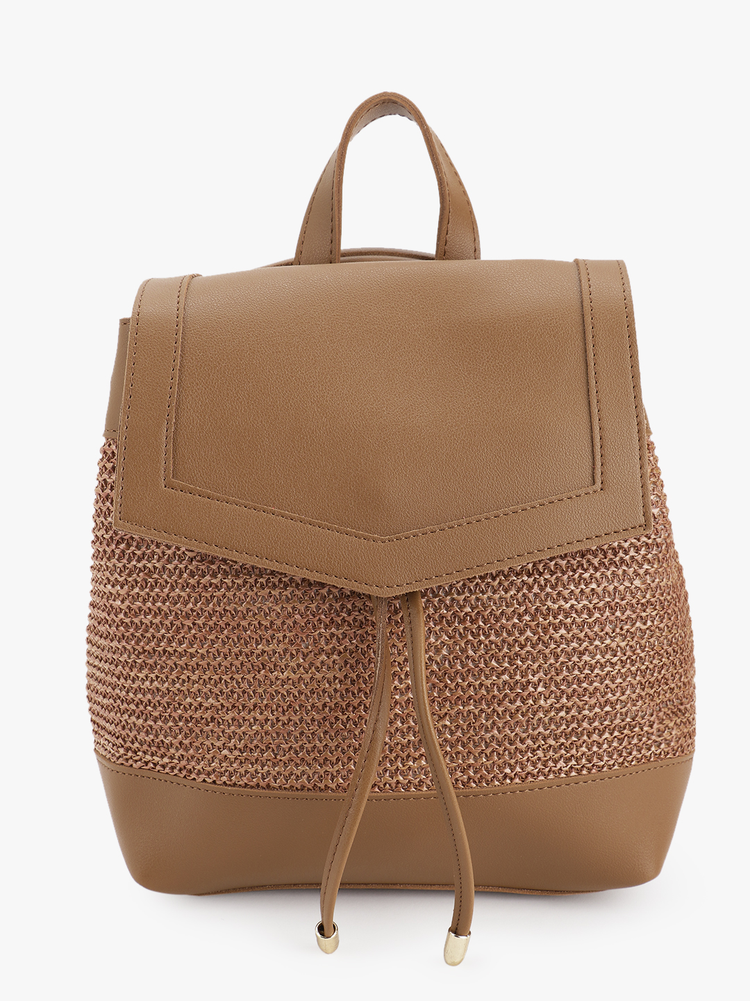 People Tan Woven Panel Backpack 1