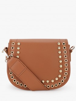 People Oval Flap Studded Eyelet Sling Bag