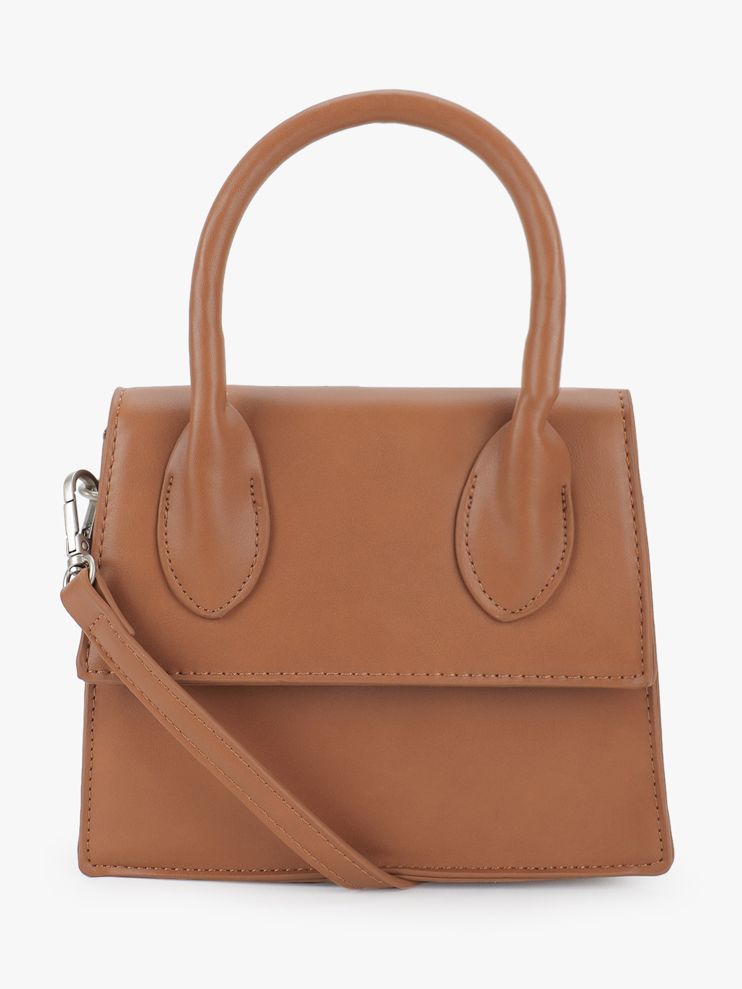 People Tan Basic Structured Mini Handbag 1