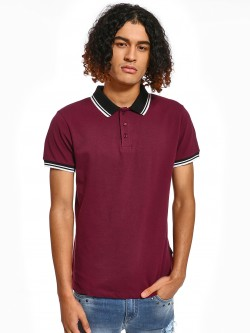 KOOVS Tipped Collar Pique Polo Shirt