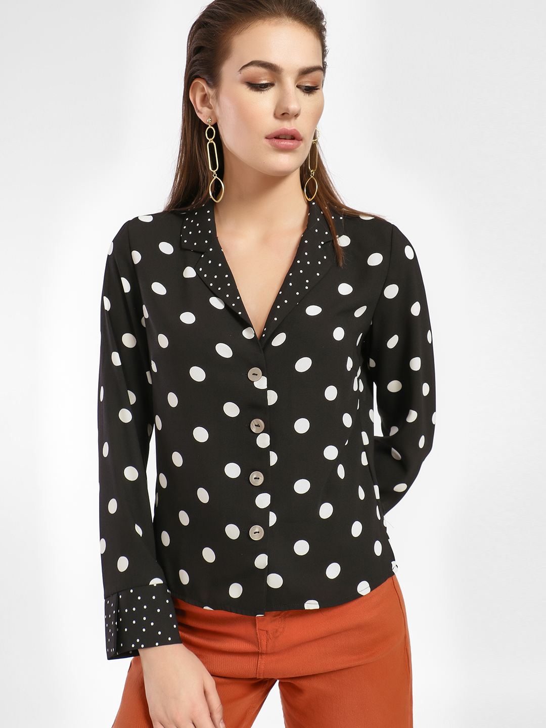 New Look Black Polka Dot Print Crop Shirt 1