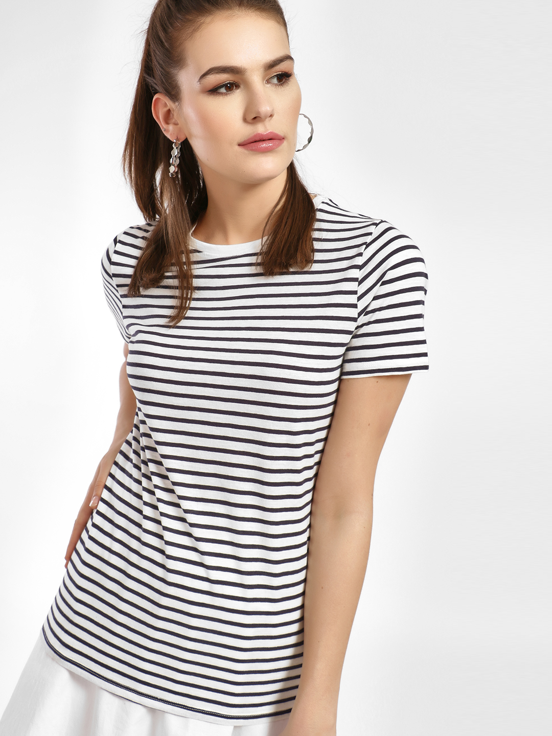 New Look White Horizontal Stripe T-Shirt 1
