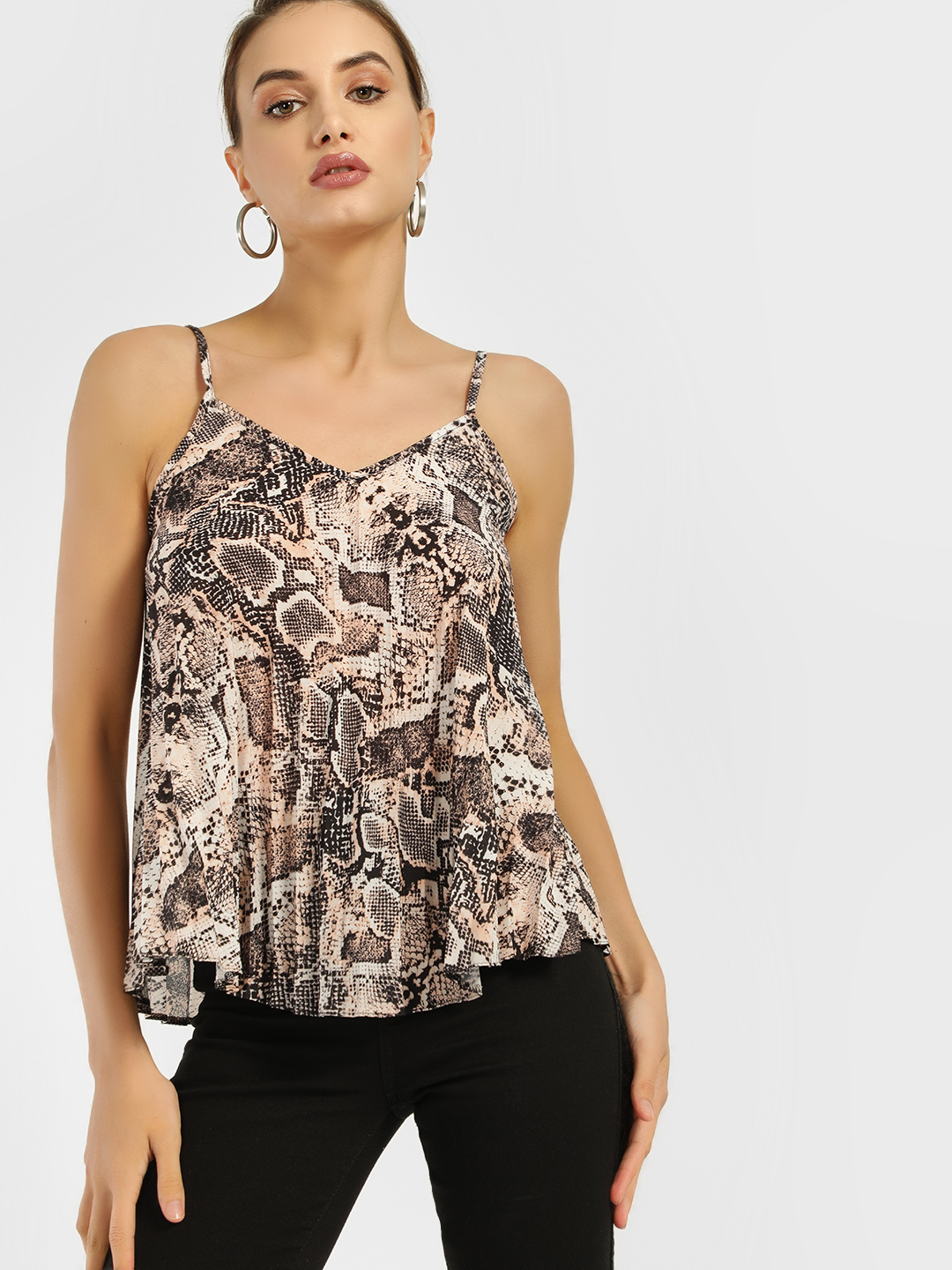 New Look Pink Snake Print Swing Cami Top 1