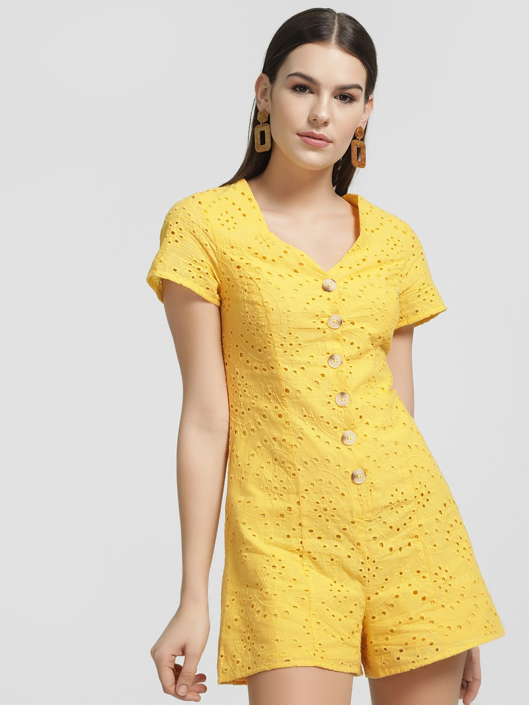 New Look Yellow Broderie Button Front Playsuit 1