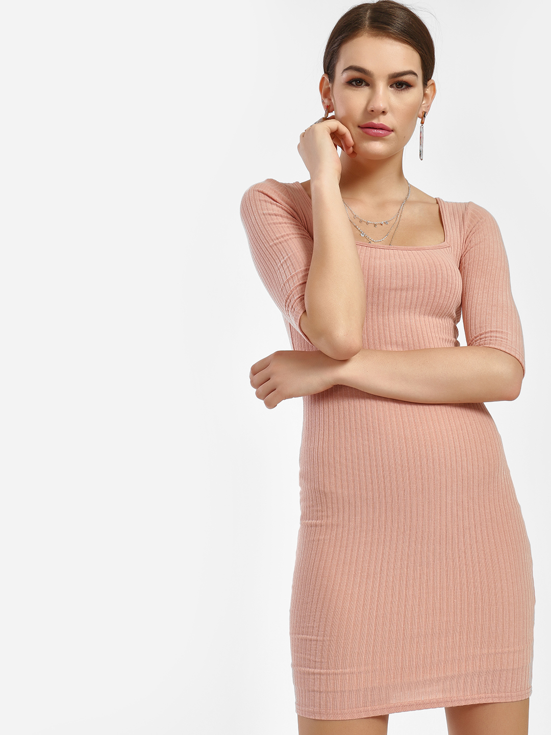 New Look Pink All Over Ribbed Bodycon Dress 1