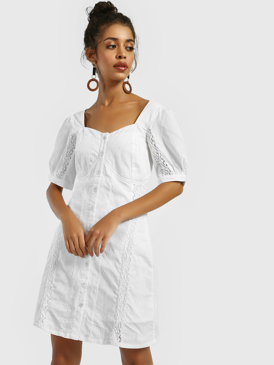 KOOVS White Button-Down Embroidered Shift Dress 1
