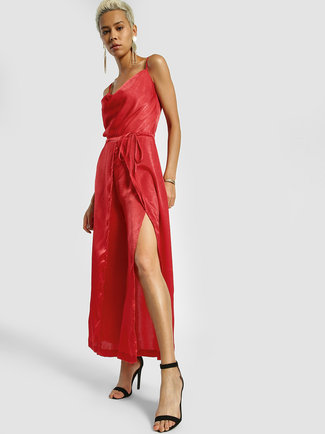 KOOVS Red Satin Split Leg Jumpsuit 1