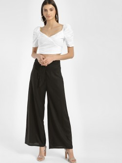 KOOVS O-Ring Belt Cropped Palazzo Pants