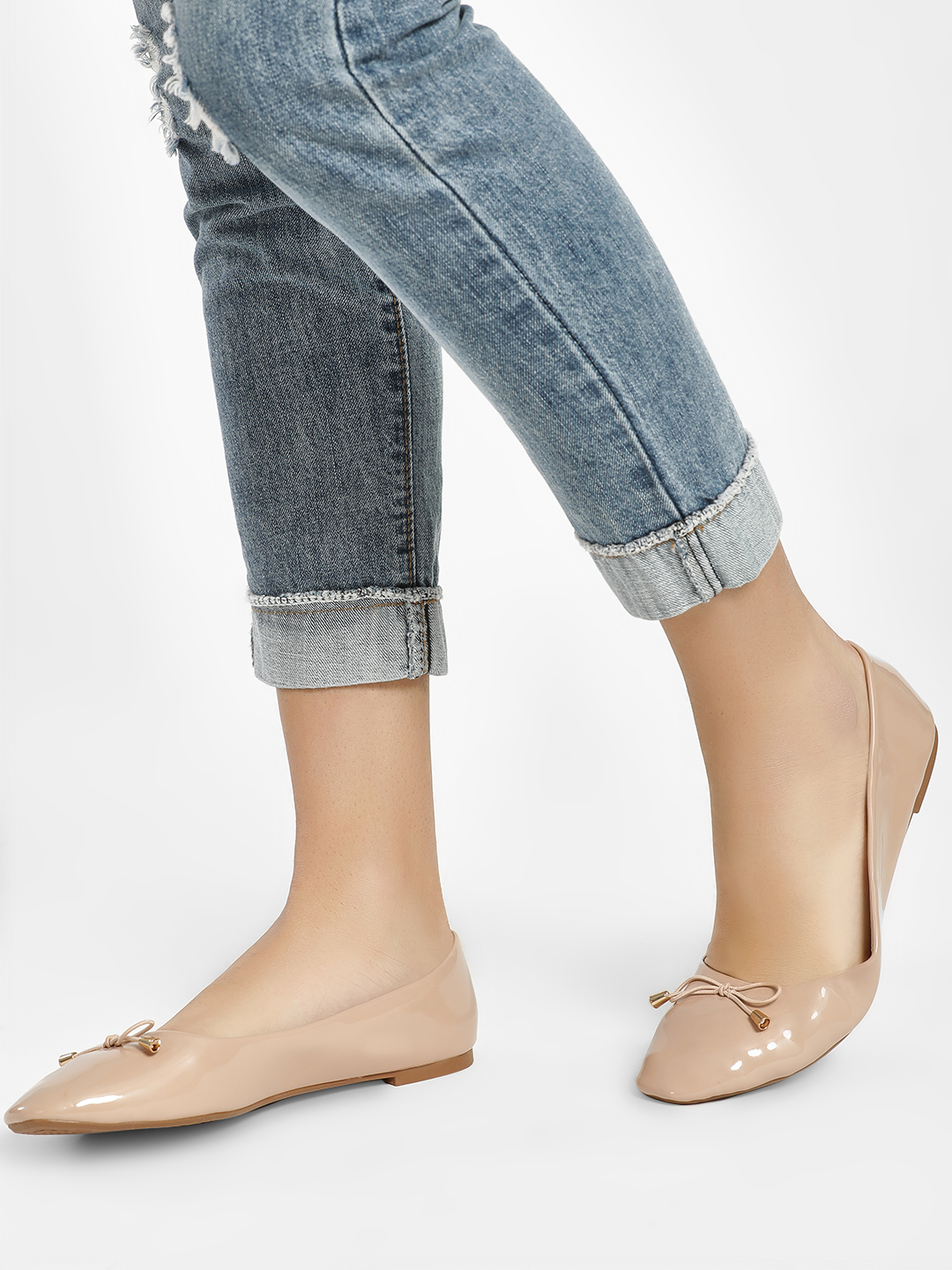 People Nude Patent Bow Detail Ballet Pumps 1